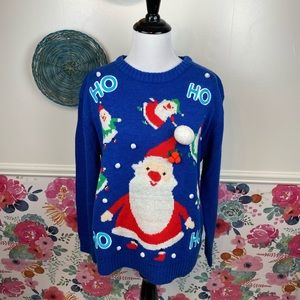 Merry Christmas Blue 3D Pom Embellished Santa Themed Holiday Sweater Size M